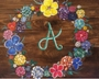 Monogrammed Floral Wreath on Wood